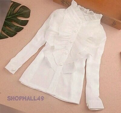 Girls Shirt Top Ruffled School Spring Long sleeve Blouse White off Age 2-14 year