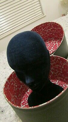 Vintage Black Zippered Hat Box Wig Box with Head Mannequin - lovely condition