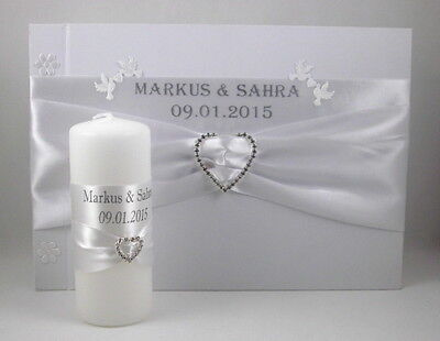 Guestbook + Wedding Candle with Name and Date Colour Selection Box for Ring Set