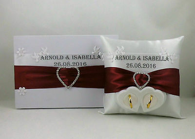 Guestbook + Ringpillow with Name and Date Colour Selection Parts Box for Wedding