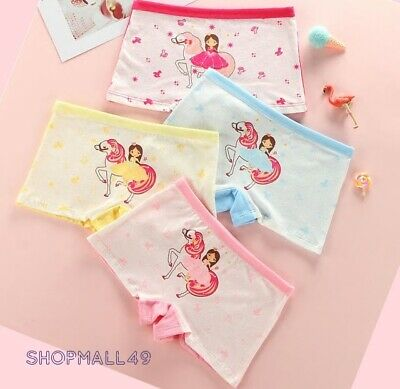 4 pack Girls Underwear Knickers Boxer Shorts Cotton Briefs Panties Age 2-10 year