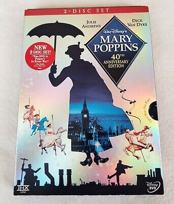 MARY POPPINS 40th Anniversary Edition (DVD, 2-Disc Set) w/ Slipcover - Pristine!