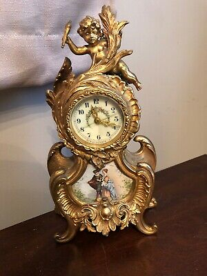 ANTIQUE NEW HAVEN BRONZE CLOCK WITH  CHERUB FIGURAL ART Nouveau Hand Painted