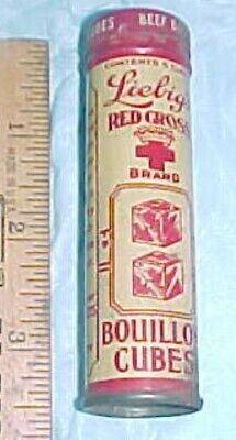 Obsolete Product Tin Liebig's Red Cross Brand Bouillon Cubes Nyc Usa 5 Cubes Emt