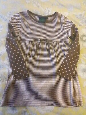 Girls Mini Boden Dress/tunic top beige pink polka dots - Age 3 to 4 Years VGC