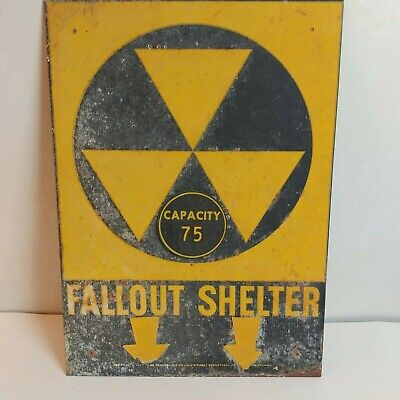 """Vtg 1960's Era FALLOUT SHELTER Department of Defense Steel SIGN  14""""x10"""""""