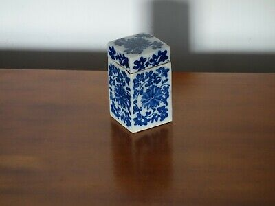 Rare antique chinese ming porcelain blue & white tea caddy