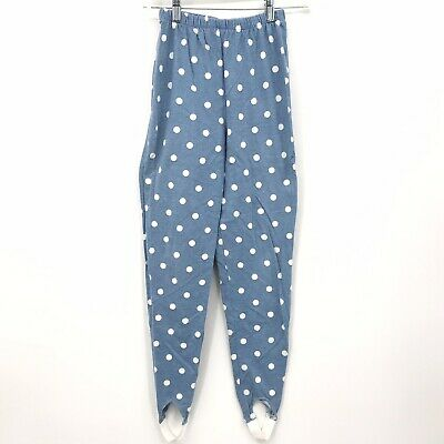 Vintage Amy Byer Stirrup Leggings High Waisted Polka Dot Blue Girls Sz Large 14