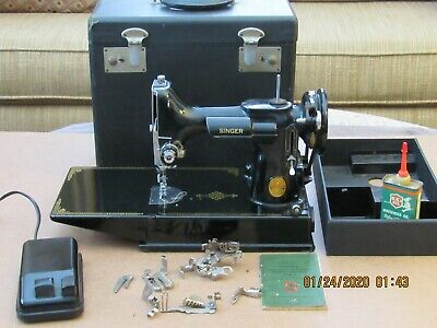 Vintage Singer Featherweight 221-1 Sewing Machine with Case & Attachments
