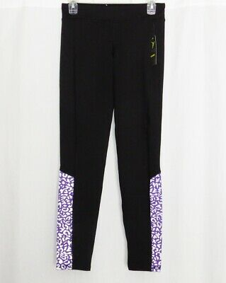 OLD NAVY Leggings Girls XL 14 Black NEW Skinny Leg w/ Purple Leopard Print Pants
