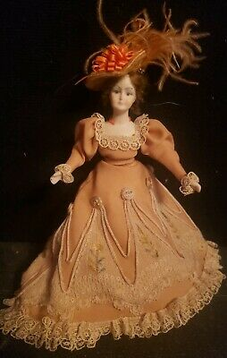 Miniature Porcelain Dollhouse Doll in 1:12 Scale-Victorian French Lady