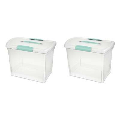 Sterilite Small Nesting ShowOff Storage Box With Carry Handle 1872 Clear Aqua
