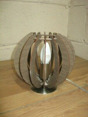 Retro mid Century Inspired Circular Slatted Wood and Chrome Table Lamp