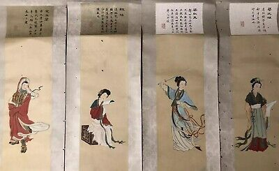 Antique Chinese Painting Scrolls of Historic Female Characters