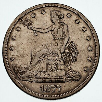 1877-S $1 Trade Dollar in Extra Fine XF Condition, Nice Detail, Light Gray Color