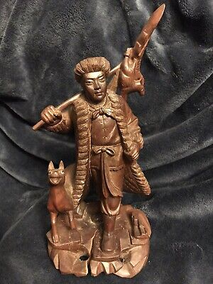 "Antique Chinese Carved Wood Figurine Man W/Dog Bird Sculpture Statue 12"" Signed"