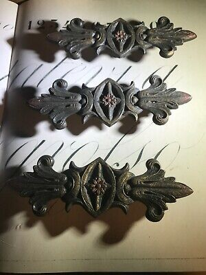 Antique Vintage Cast Iron Curtain Adornments Finials Victorian Polychrome Three