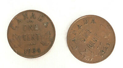 Canada 1934 and 1929 1 Cent Copper Coins - Two Canadian Pennies
