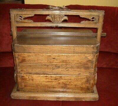 Antique Asian Chinese Wood Stacking Dowry Wedding Box