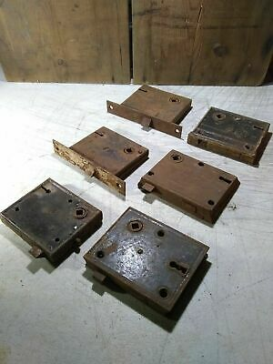4 Antique Rusty Door Lock Mechanisms + 2 Frozen For Parts If You Want