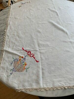 Vintage Linen Hand Embroidered Square Tablecloth Easter Theme