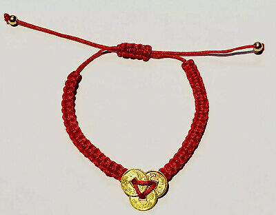 Feng Shui Red String Lucky Coin Charm for Good Luck Wealth Amulet Gils Bracelet