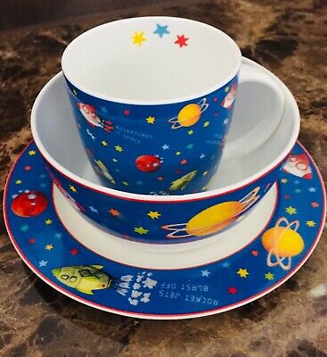 Space Theme Baby Boys Toddler Cup Bowl Saucer Set New