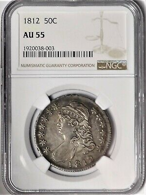 1812 50c NGC AU 55 Choice Almost Uncirculated Capped Bust Half Dollar O-103