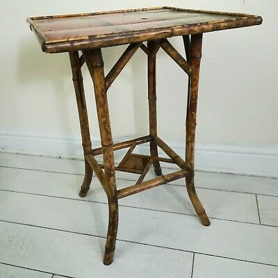 Antique Bamboo Lacquered Tea Table Side Table
