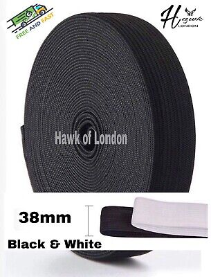 38Mm Top Quality Black/White Flat Woven Elastic Bands Sewing Various Lengths