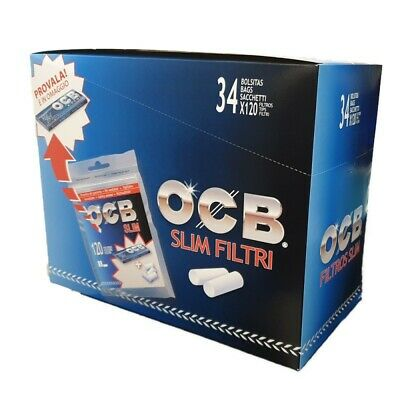 FILTRI OCB SLIM 6 mm IN BAG 1 BOX 34 BUSTINE DA 120 FILTRI + CARTINE OMAGGIO