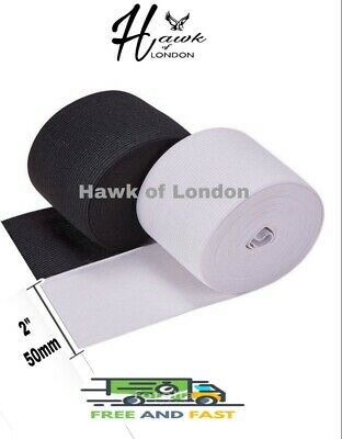 50Mm Top Quality Black/White Flat Woven Elastic Bands Sewing Various Lengths
