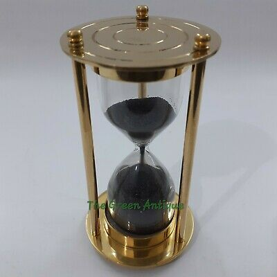 Brass Sand Timer  Black Sand Collectible Nautical Gift