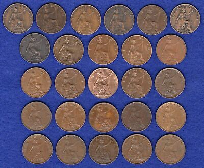 GB, Farthings, George V, 1911 to 1936, Complete Date Run, 26 Coins (Ref. t2812)