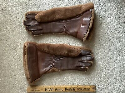 Original Vintage 1940s Faux Fur And Leather Gauntlet Gloves
