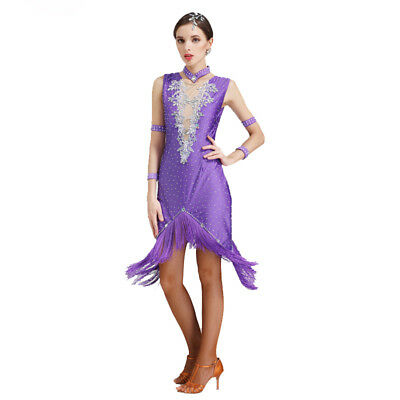 Latin Ballroom Dance Dress Modern Salsa Waltz Standard Long Dress#N075 5 Colors