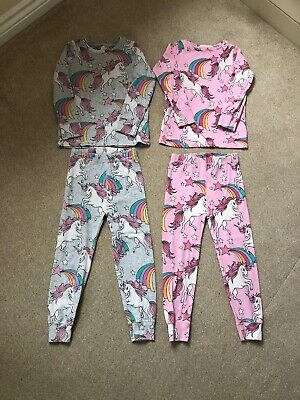 Next Unicorn Girls Pyjamas Set Age 4 Years Pink & Grey Mix (Pack 2)
