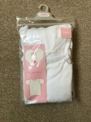 Brand New Mothercare Girls Short Sleeve Vests Pack 2 Age 4-5 Years White