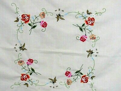"""39"""" X 41"""" Rectangle Ivory Butterflies Floral Rose Daisy Embroidered Table Cloth"""