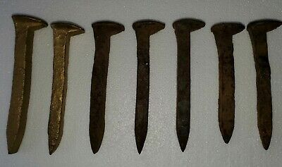 Lot of 7 Antique Railroad Spike Nails Train Track Ties Rusty & Gold Golden