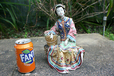 Chinese Porcelain Pottery Carved and Painted Lady Woman Figurine - Marks