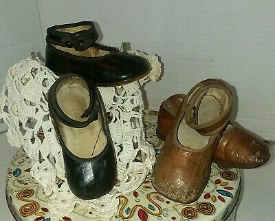 Antique lot of 2  Leather Mary Jane infant girls  Shoes Ankle Strap With Button