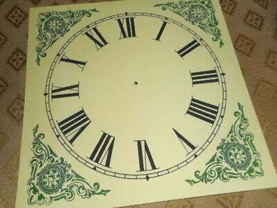 "Large Square Paper (Card) Clock Dial - 8"" M/T - Green Corners - CREAM - Parts"