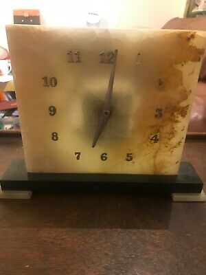 Art Deco Green Marble / Onyx Stone Mantel Clock Square AF