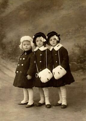 Antique Photo... Young Girls Winter Coats ,Fur Trim Early 1900s .Photo print 5x7