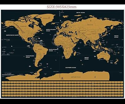 Scratch Off Map World Extra Large Size Wall Art 82 x 59cm UK stock
