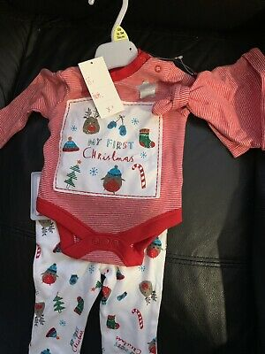 BNWT Up To 3 Months F/&F Girls 2 Piece Christmas Set Baby grow /& Headband