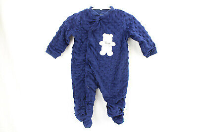 Kyle And Deena New York Baby Boy One Piece Size 3-6 Months Minky Navy Blue Bear