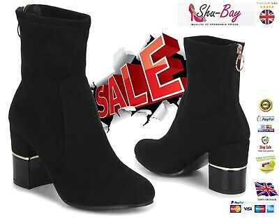 ⭐⭐⭐⭐⭐Truffle® Womens Ladies Heel Boots Ankle Sock Stretch Boots Shoes Size 3-8