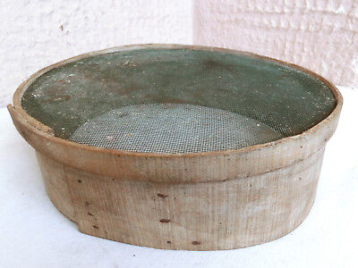 "12"" LARGE OLD ANTIQUE PRIMITIVE RUSTIC WOODEN bentwood FLOUR SIEVE SIFTER"